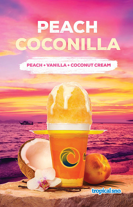Tropical Sno Peach Coconilla Poster Design By Alexander Hofstetter
