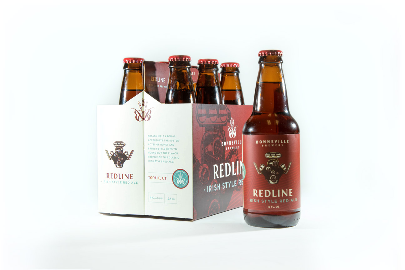 Redline Irish Style Red Ale Bonneville Brewery Package and Beer Label Design By Alexander Hofstetter