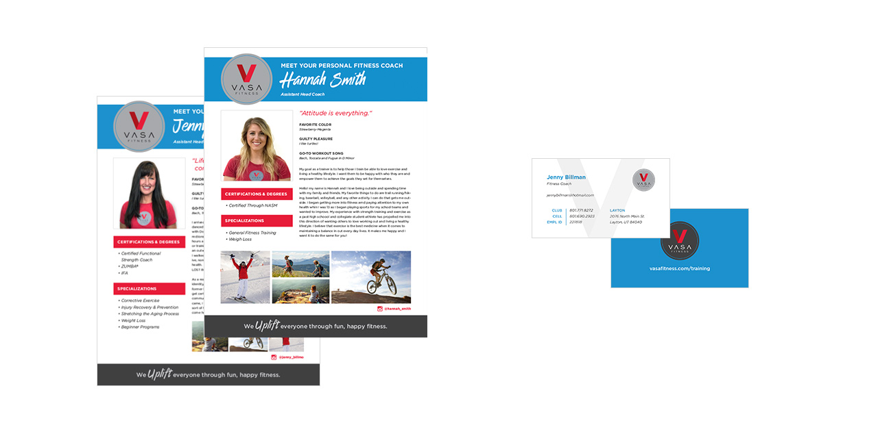 Vasa Up Fitness Coach Bios and Business Cards Graphic Design By Alexander Hofstetter