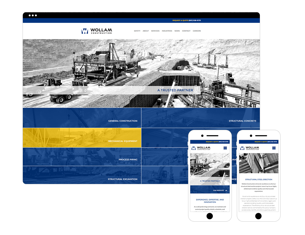 Wollam Construction Responsive Website Design